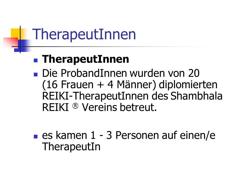 TherapeutInnen Die ProbandInnen wurden von 20 (16 Frauen + 4 Männer) diplomierten REIKI-TherapeutInnen des Shambhala REIKI ® Vereins betreut. es kamen