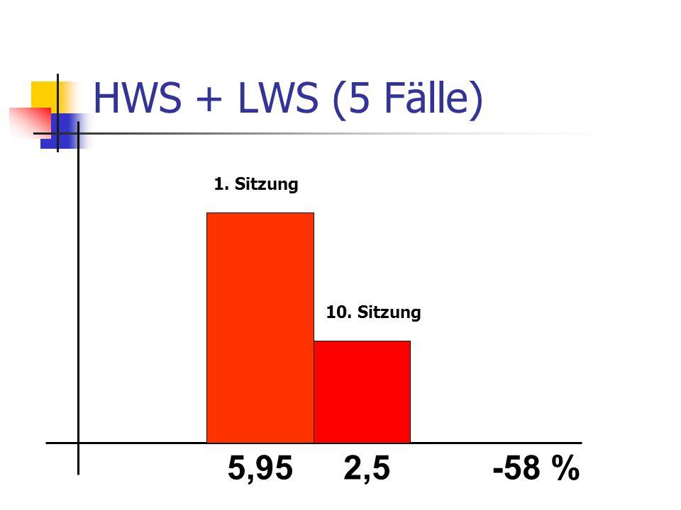 HWS + LWS (5 Fälle) 5,952,5-58 % 1. Sitzung 10. Sitzung