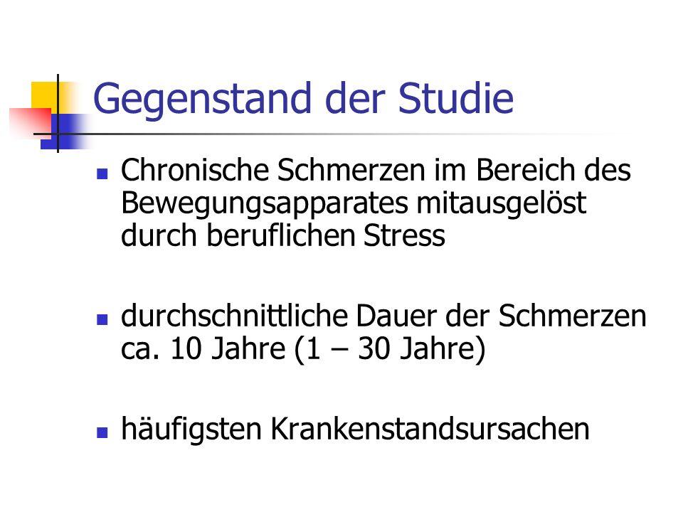 Gegenstand der Studie Chronische Schmerzen im Bereich des Bewegungsapparates mitausgelöst durch beruflichen Stress durchschnittliche Dauer der Schmerzen ca.