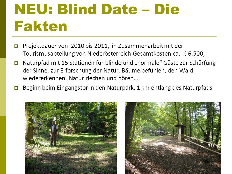 NEU: Blind Date – Die Fakten Projektdauer von 2010 bis 2011, in Zusammenarbeit mit der Tourismusabteilung von Niederösterreich-Gesamtkosten ca. 6.500,