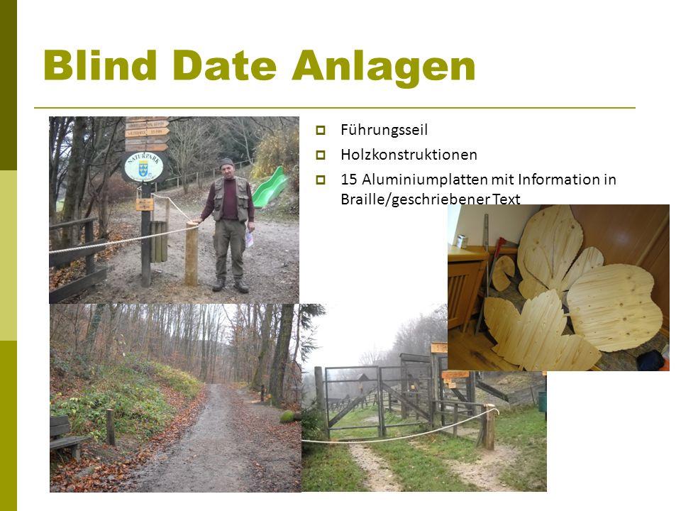 Blind Date Anlagen Führungsseil Holzkonstruktionen 15 Aluminiumplatten mit Information in Braille/geschriebener Text