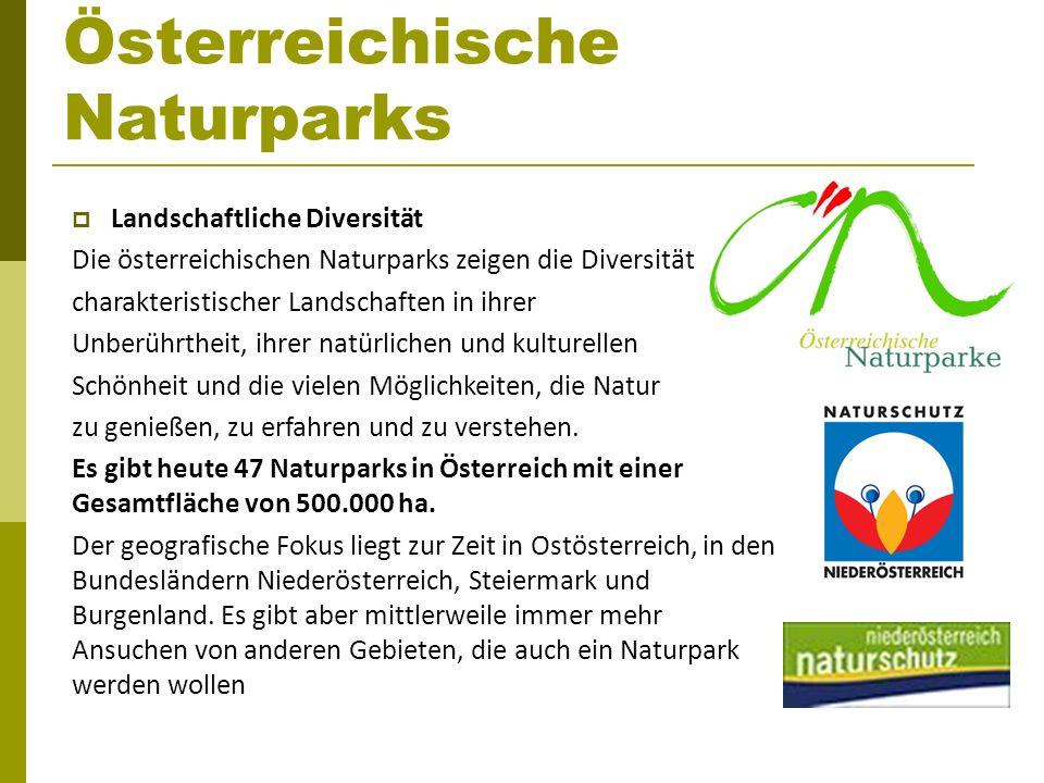 Österreichische Naturparks Landschaftliche Diversität Die österreichischen Naturparks zeigen die Diversität charakteristischer Landschaften in ihrer U
