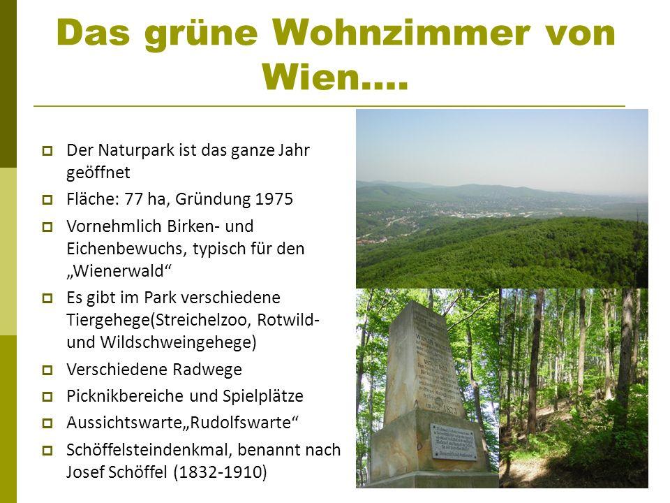Das grüne Wohnzimmer von Wien…. Der Naturpark ist das ganze Jahr geöffnet Fläche: 77 ha, Gründung 1975 Vornehmlich Birken- und Eichenbewuchs, typisch