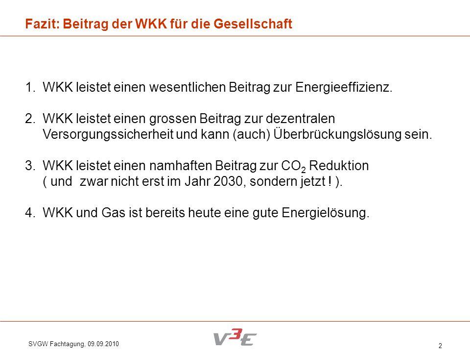 SVGW Fachtagung, 09.09.2010 2 Fazit: Beitrag der WKK für die Gesellschaft 1.WKK leistet einen wesentlichen Beitrag zur Energieeffizienz. 2.WKK leistet