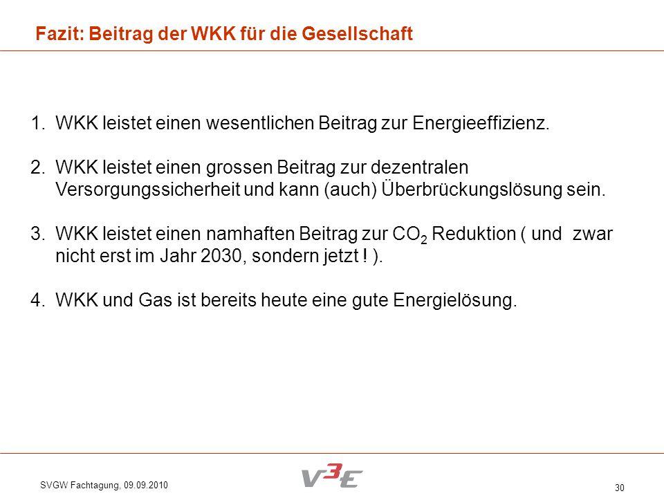 SVGW Fachtagung, 09.09.2010 30 Fazit: Beitrag der WKK für die Gesellschaft 1.WKK leistet einen wesentlichen Beitrag zur Energieeffizienz. 2.WKK leiste