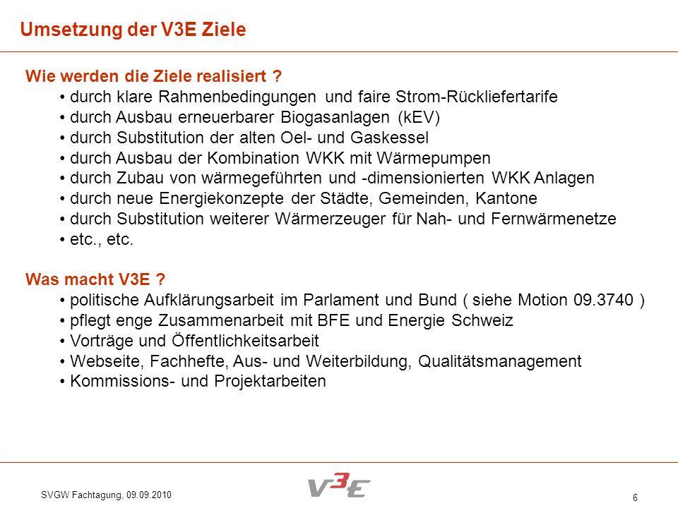 SVGW Fachtagung, 09.09.2010 6 Wie werden die Ziele realisiert ? durch klare Rahmenbedingungen und faire Strom-Rückliefertarife durch Ausbau erneuerbar
