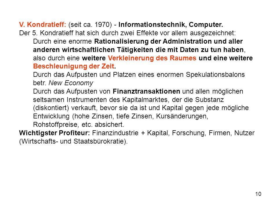 10 V. Kondratieff: (seit ca. 1970) - Informationstechnik, Computer.