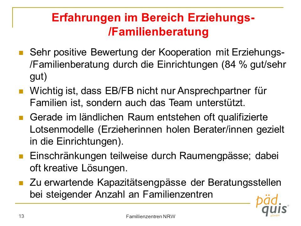 Familienzentren NRW 13 Erfahrungen im Bereich Erziehungs- /Familienberatung Sehr positive Bewertung der Kooperation mit Erziehungs- /Familienberatung