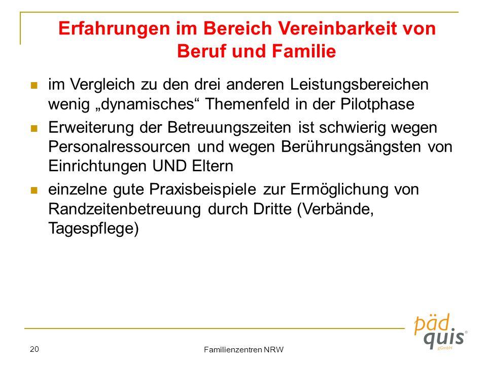 Familienzentren NRW 20 Erfahrungen im Bereich Vereinbarkeit von Beruf und Familie im Vergleich zu den drei anderen Leistungsbereichen wenig dynamische