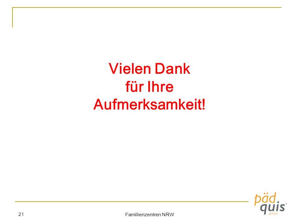 Familienzentren NRW 21 Vielen Dank für Ihre Aufmerksamkeit!