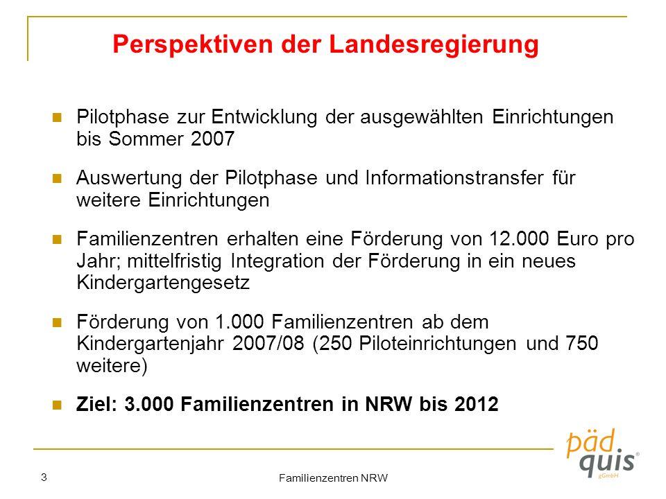 Familienzentren NRW 3 Perspektiven der Landesregierung Pilotphase zur Entwicklung der ausgewählten Einrichtungen bis Sommer 2007 Auswertung der Pilotp