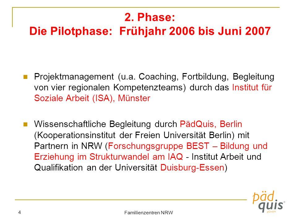 Familienzentren NRW 4 2. Phase: Die Pilotphase: Frühjahr 2006 bis Juni 2007 Projektmanagement (u.a. Coaching, Fortbildung, Begleitung von vier regiona