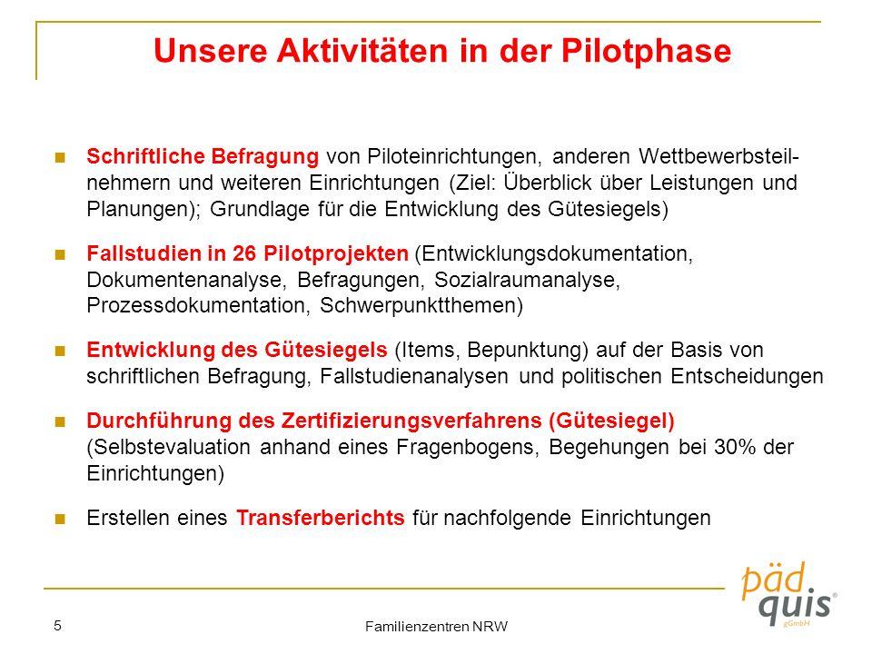 Familienzentren NRW 5 Unsere Aktivitäten in der Pilotphase Schriftliche Befragung von Piloteinrichtungen, anderen Wettbewerbsteil- nehmern und weitere
