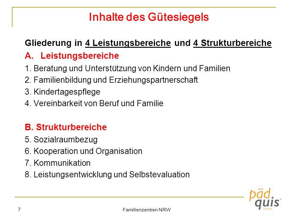 Familienzentren NRW 7 Inhalte des Gütesiegels Gliederung in 4 Leistungsbereiche und 4 Strukturbereiche A.Leistungsbereiche 1. Beratung und Unterstützu