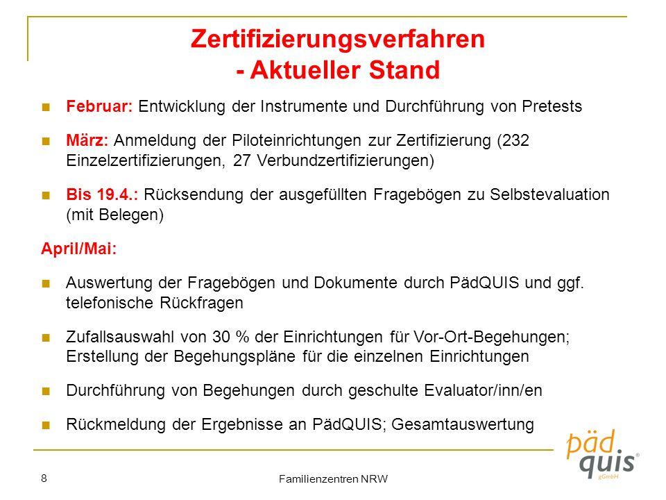 Familienzentren NRW 8 Zertifizierungsverfahren - Aktueller Stand Februar: Entwicklung der Instrumente und Durchführung von Pretests März: Anmeldung de