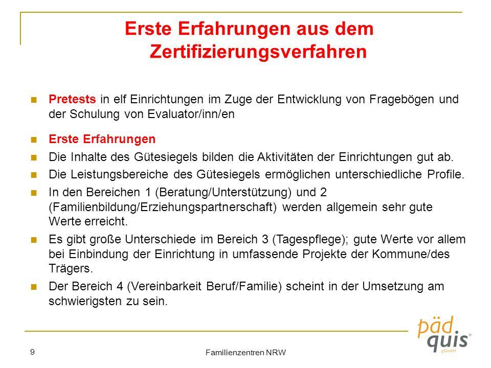 Familienzentren NRW 9 Erste Erfahrungen aus dem Zertifizierungsverfahren Pretests in elf Einrichtungen im Zuge der Entwicklung von Fragebögen und der