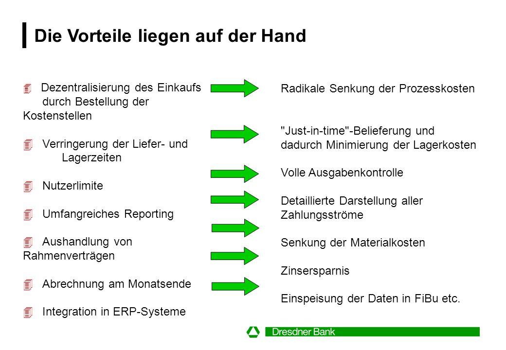 Die Beschaffungsprozesskette wird durch das Dresdner Purchasing System stark verkürzt Bestehen eines Bedarfs B BestellerV Vorgesetzter Besteller E Ein