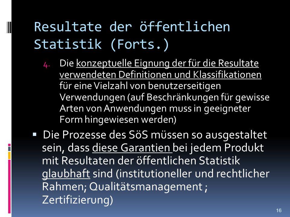 Resultate der öffentlichen Statistik (Forts.) 4. Die konzeptuelle Eignung der für die Resultate verwendeten Definitionen und Klassifikationen für eine