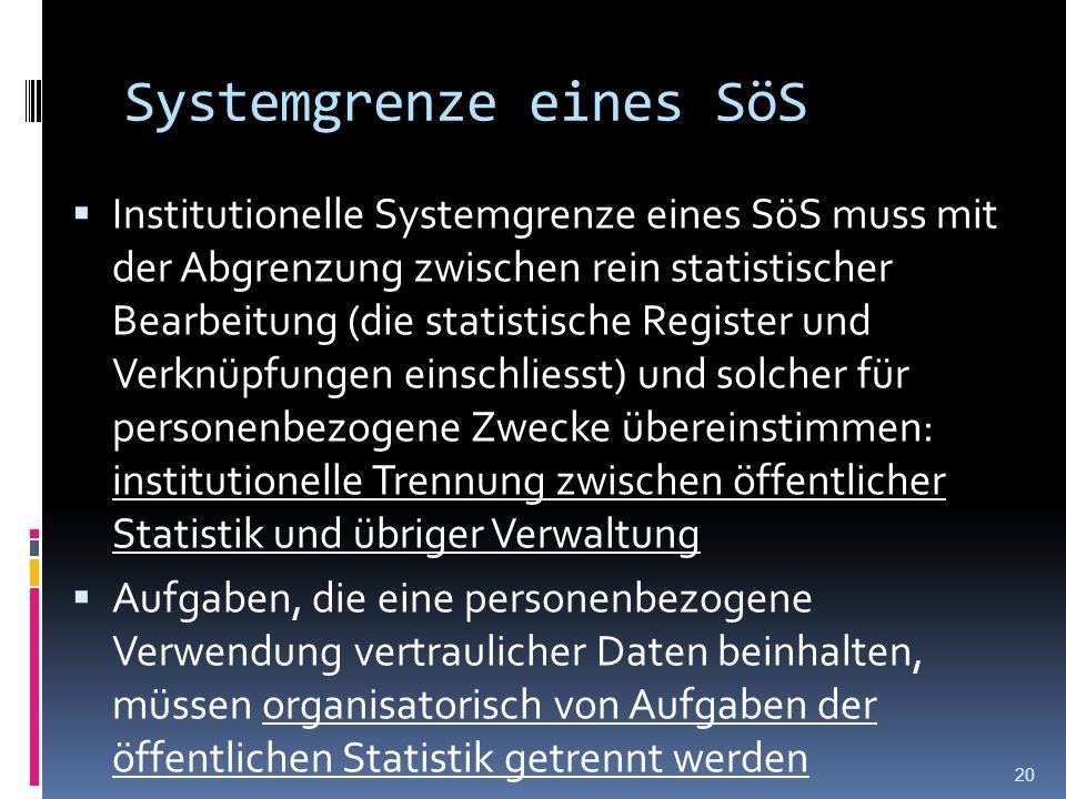 Systemgrenze eines SöS Institutionelle Systemgrenze eines SöS muss mit der Abgrenzung zwischen rein statistischer Bearbeitung (die statistische Regist