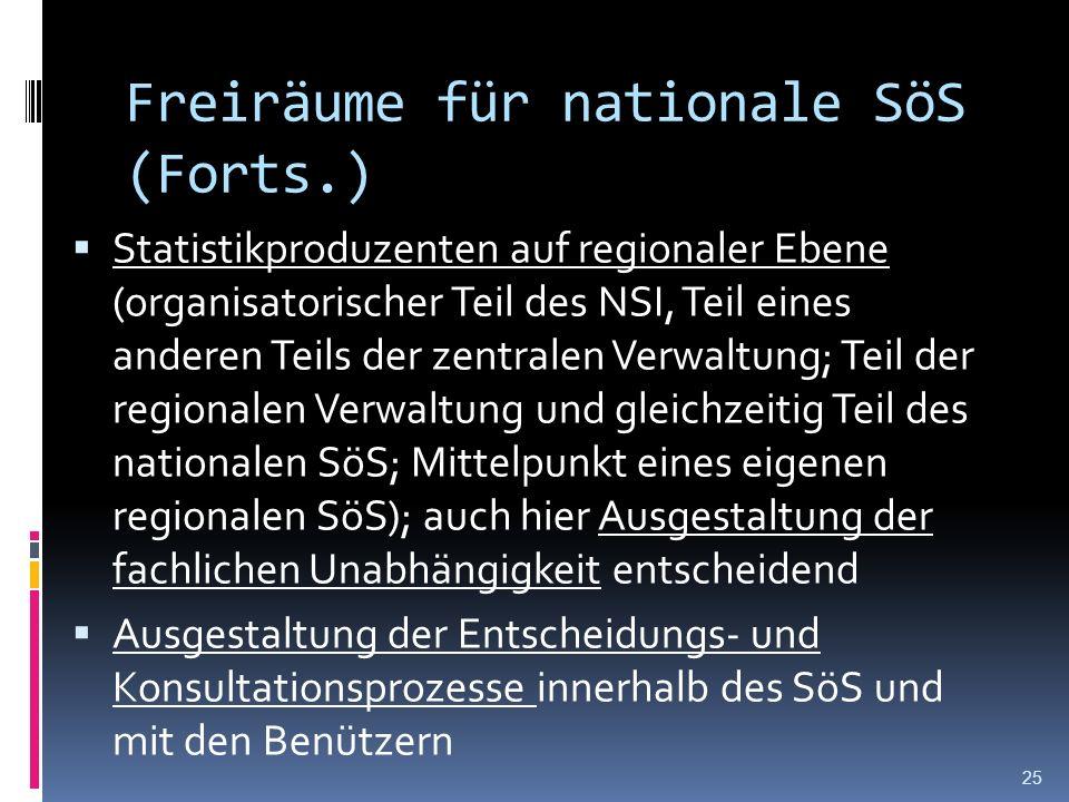 Freiräume für nationale SöS (Forts.) Statistikproduzenten auf regionaler Ebene (organisatorischer Teil des NSI, Teil eines anderen Teils der zentralen