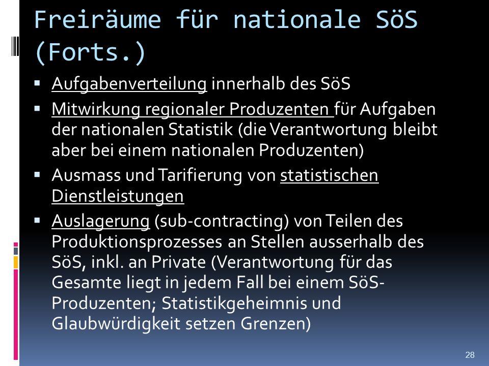 Freiräume für nationale SöS (Forts.) Aufgabenverteilung innerhalb des SöS Mitwirkung regionaler Produzenten für Aufgaben der nationalen Statistik (die