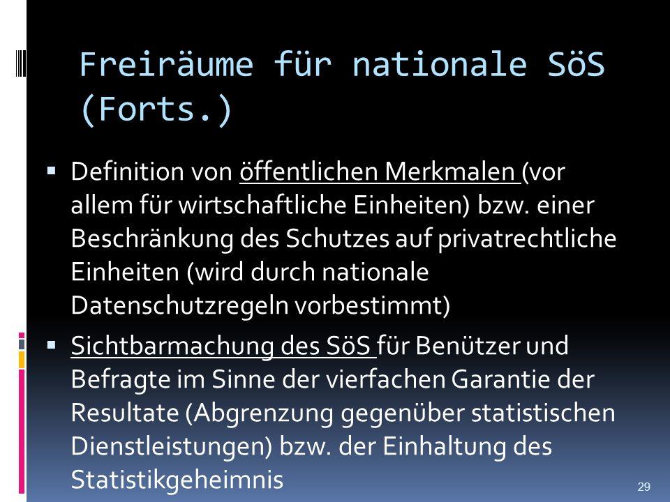 Freiräume für nationale SöS (Forts.) Definition von öffentlichen Merkmalen (vor allem für wirtschaftliche Einheiten) bzw. einer Beschränkung des Schut