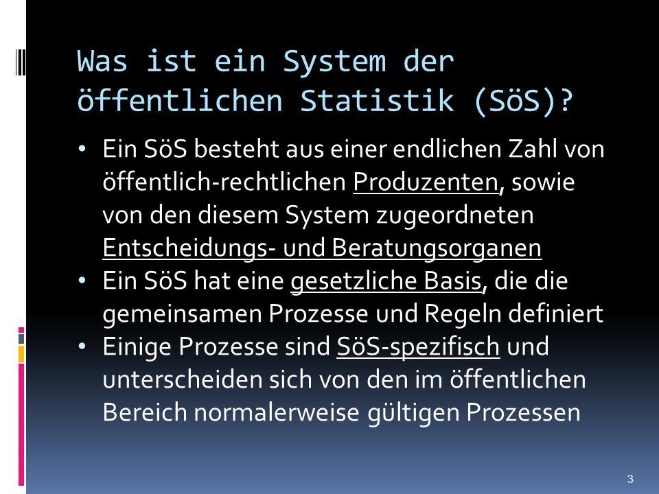 Was ist ein System der öffentlichen Statistik (SöS)? Ein SöS besteht aus einer endlichen Zahl von öffentlich-rechtlichen Produzenten, sowie von den di