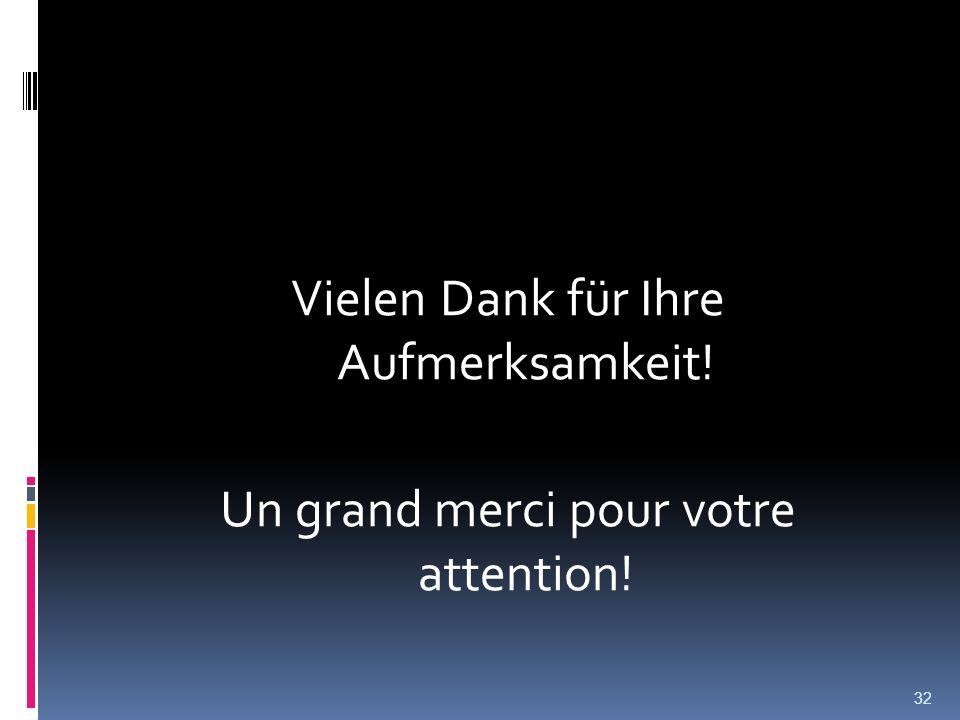 Vielen Dank für Ihre Aufmerksamkeit! Un grand merci pour votre attention! 32