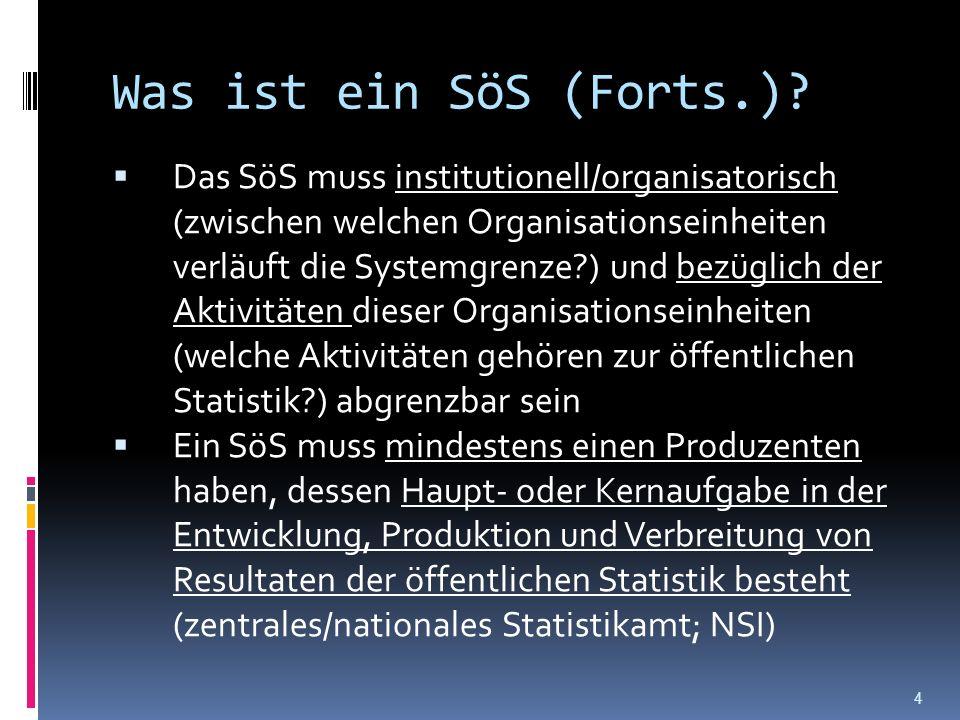 Was ist ein SöS (Forts.)? Das SöS muss institutionell/organisatorisch (zwischen welchen Organisationseinheiten verläuft die Systemgrenze?) und bezügli