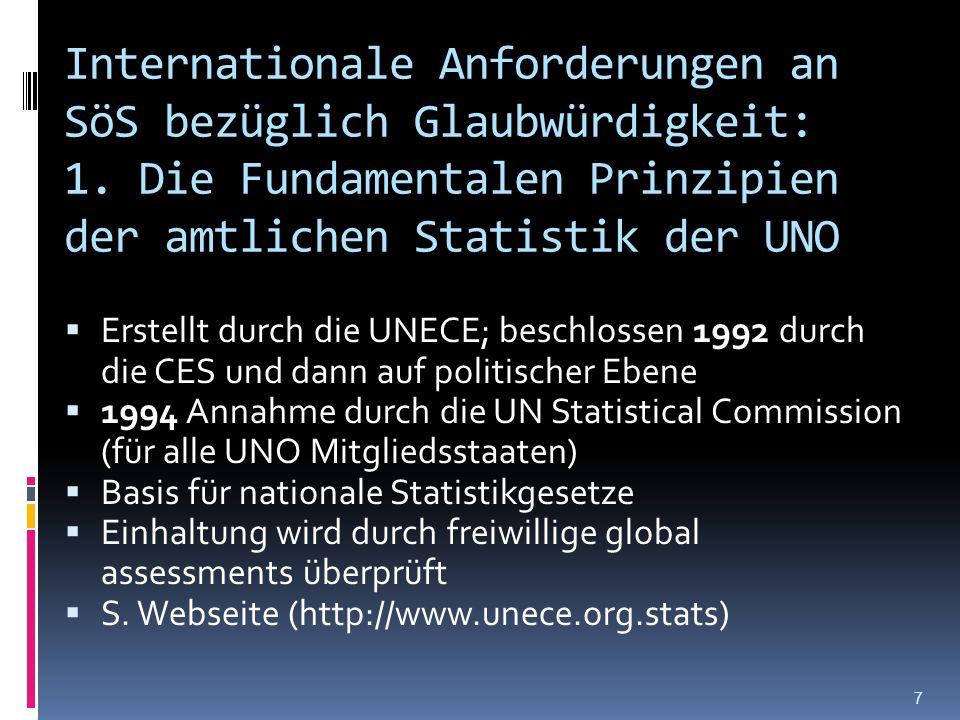 Internationale Anforderungen an SöS bezüglich Glaubwürdigkeit: 1. Die Fundamentalen Prinzipien der amtlichen Statistik der UNO Erstellt durch die UNEC