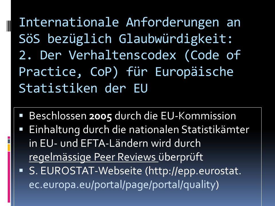 Internationale Anforderungen an SöS bezüglich Glaubwürdigkeit: 2. Der Verhaltenscodex (Code of Practice, CoP) für Europäische Statistiken der EU Besch