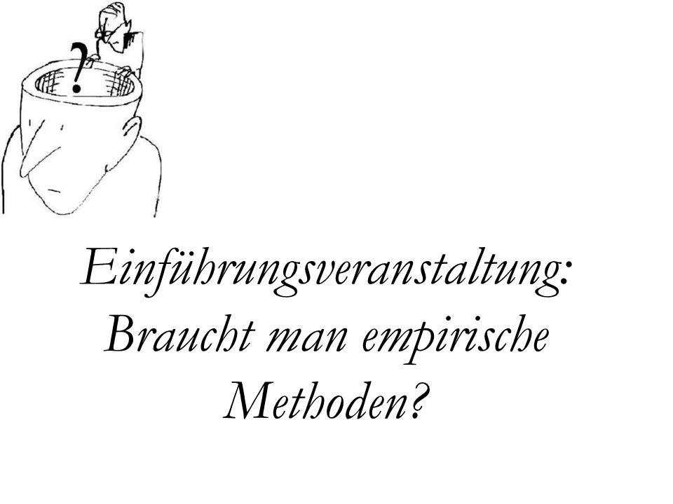 Einführungsveranstaltung: Braucht man empirische Methoden?