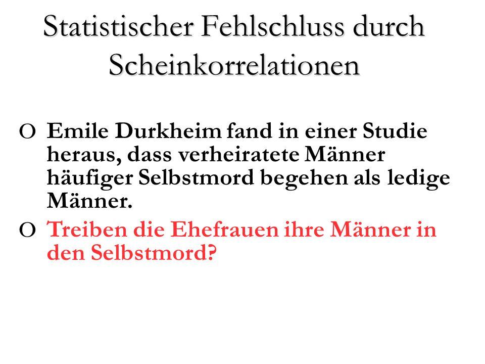 o Emile Durkheim fand in einer Studie heraus, dass verheiratete Männer häufiger Selbstmord begehen als ledige Männer.