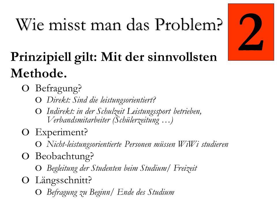 2 Prinzipiell gilt: Mit der sinnvollsten Methode.o Befragung.