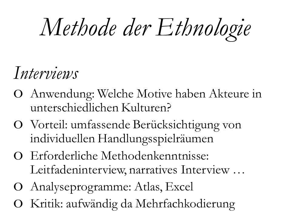 Interviews o Anwendung: Welche Motive haben Akteure in unterschiedlichen Kulturen.