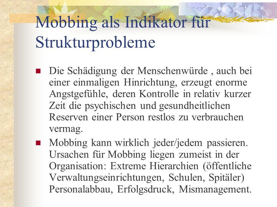 Mobbing als Indikator für Strukturprobleme Die Schädigung der Menschenwürde, auch bei einer einmaligen Hinrichtung, erzeugt enorme Angstgefühle, deren