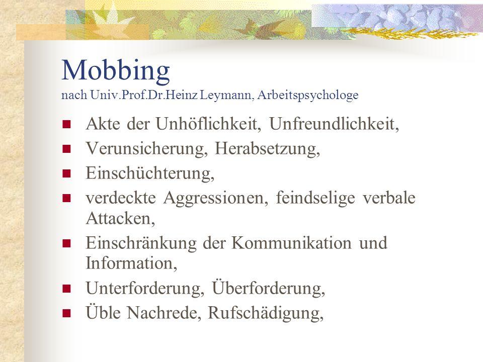 Mobbing nach Univ.Prof.Dr.Heinz Leymann, Arbeitspsychologe Akte der Unhöflichkeit, Unfreundlichkeit, Verunsicherung, Herabsetzung, Einschüchterung, ve