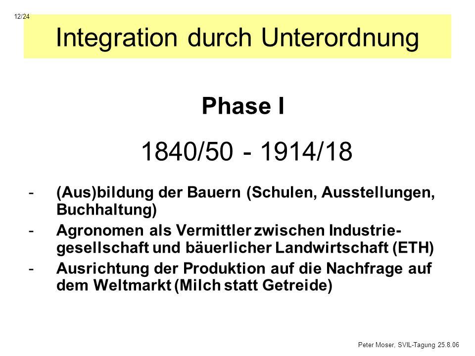 Integration durch Unterordnung -(Aus)bildung der Bauern (Schulen, Ausstellungen, Buchhaltung) -Agronomen als Vermittler zwischen Industrie- gesellscha