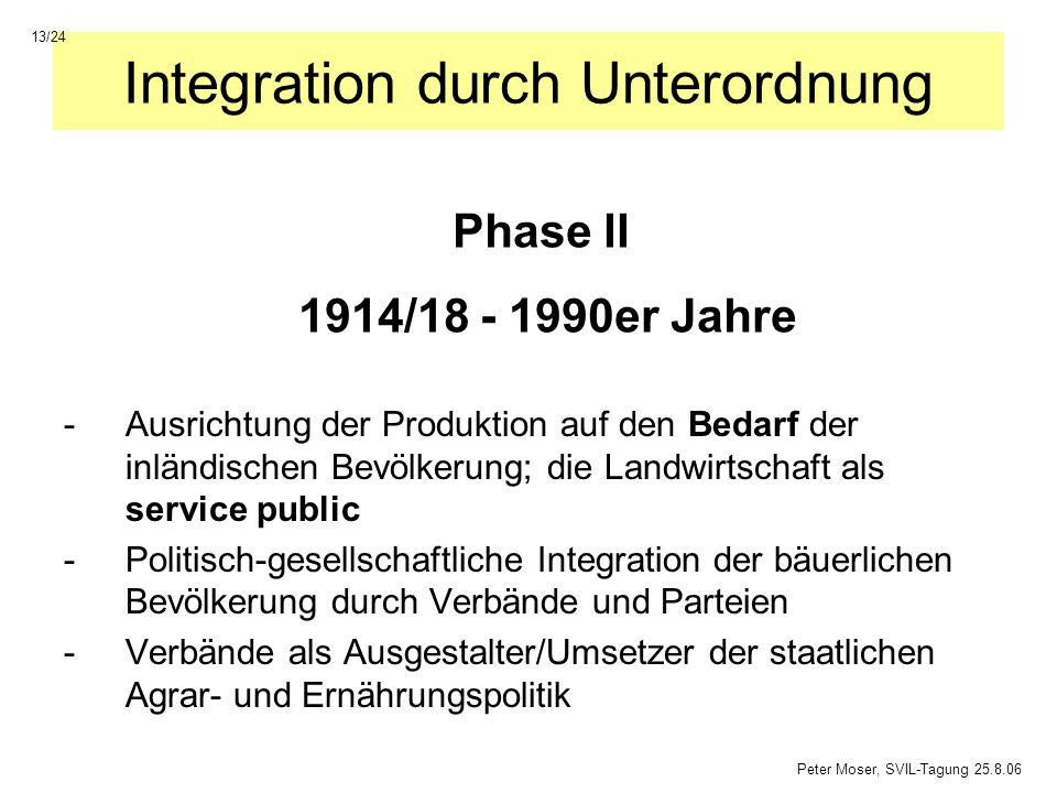 Integration durch Unterordnung -Ausrichtung der Produktion auf den Bedarf der inländischen Bevölkerung; die Landwirtschaft als service public -Politis