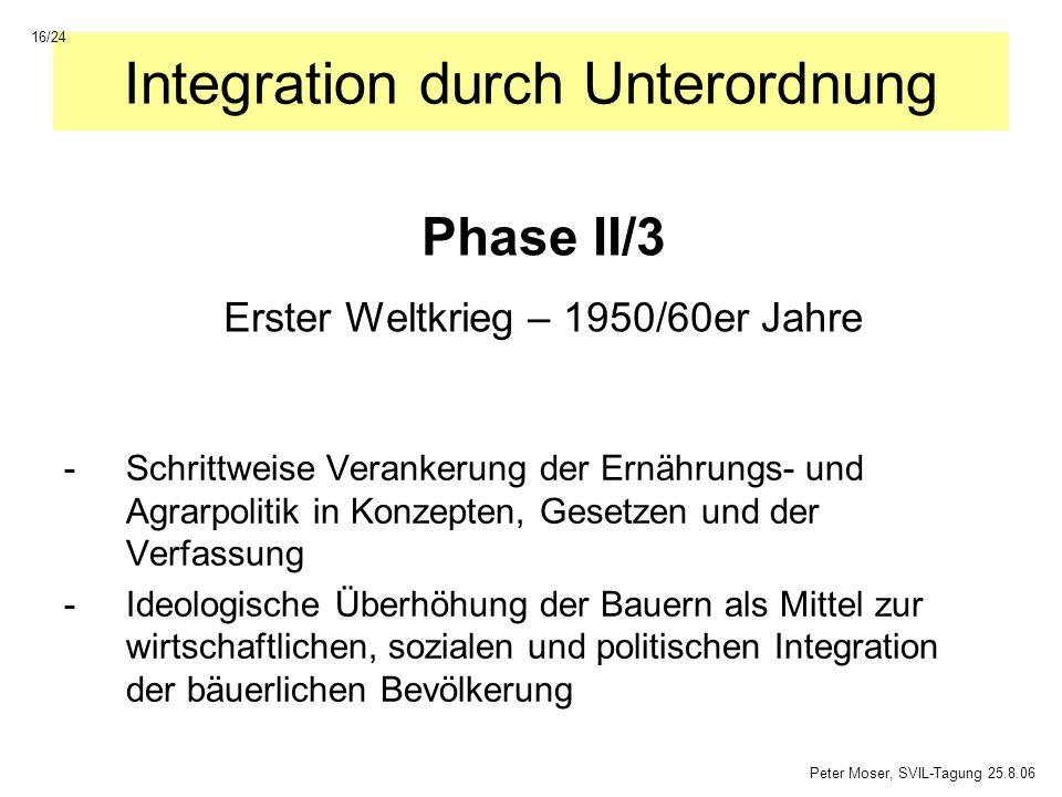 Integration durch Unterordnung -Schrittweise Verankerung der Ernährungs- und Agrarpolitik in Konzepten, Gesetzen und der Verfassung -Ideologische Über
