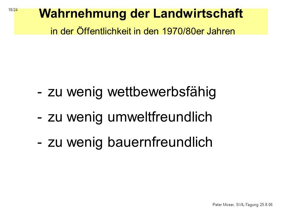 Wahrnehmung der Landwirtschaft in der Öffentlichkeit in den 1970/80er Jahren -zu wenig wettbewerbsfähig -zu wenig umweltfreundlich -zu wenig bauernfre