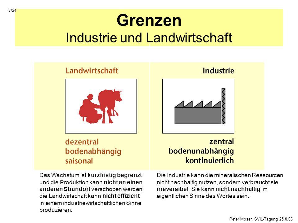Grenzen Industrie und Landwirtschaft Das Wachstum ist kurzfristig begrenzt und die Produktion kann nicht an einen anderen Strandort verschoben werden;