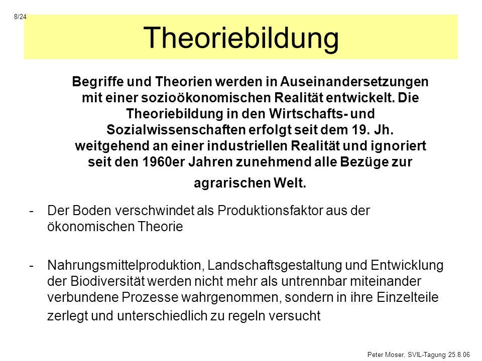 Agrarreformen der 1990er Jahre -mehr Markt -mehr Ökologie 19/24 Peter Moser, SVIL-Tagung, 25.8.06 Der Versuch einer Teilantwort auf die Kritik in den 1970/80er Jahren