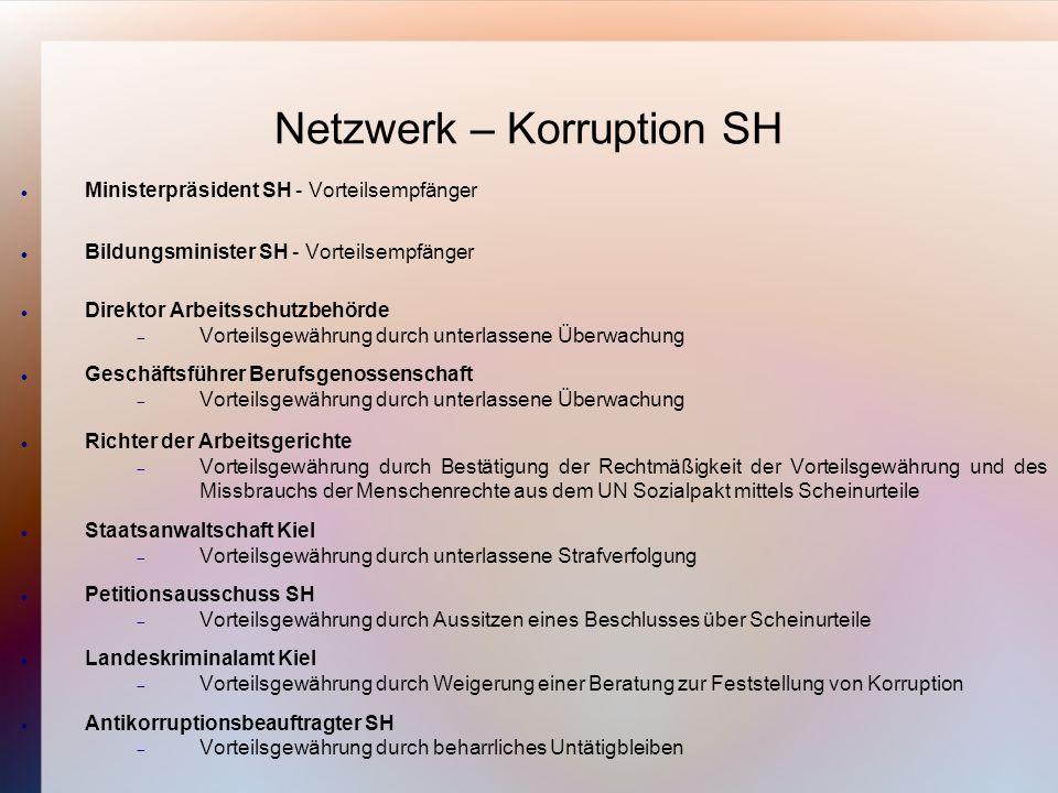 Informationen zum Netzwerk Korruption SH Alle Informationen zum Netzwerk Korruption unter http://menschenrechtsverfahren.wordpress.com