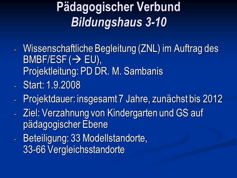 Pädagogischer Verbund Bildungshaus 3-10 - Wissenschaftliche Begleitung (ZNL) im Auftrag des BMBF/ESF ( EU), Projektleitung: PD DR. M. Sambanis - Start