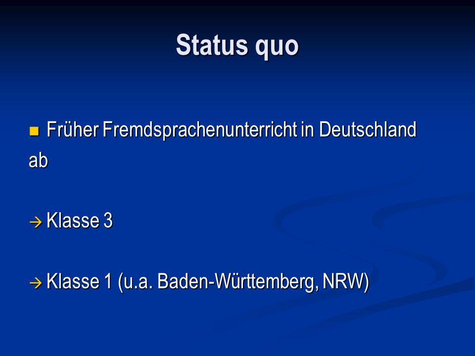 Status quo Früher Fremdsprachenunterricht in Deutschland Früher Fremdsprachenunterricht in Deutschlandab Klasse 3 Klasse 3 Klasse 1 (u.a. Baden-Württe