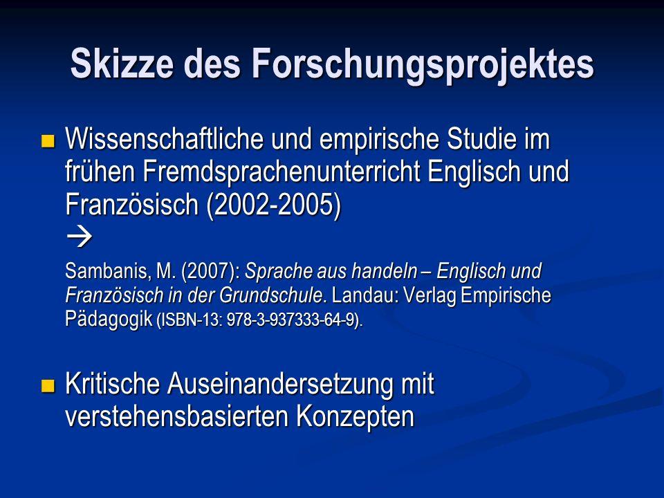 Skizze des Forschungsprojektes Wissenschaftliche und empirische Studie im frühen Fremdsprachenunterricht Englisch und Französisch (2002-2005) Wissensc