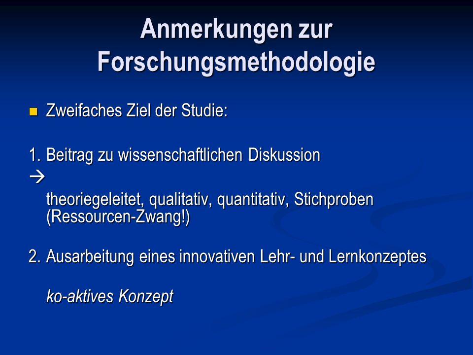 Anmerkungen zur Forschungsmethodologie Zweifaches Ziel der Studie: Zweifaches Ziel der Studie: 1.Beitrag zu wissenschaftlichen Diskussion theoriegelei