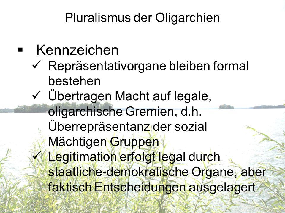 Pluralismus der Oligarchien Kennzeichen Repräsentativorgane bleiben formal bestehen Übertragen Macht auf legale, oligarchische Gremien, d.h. Überreprä