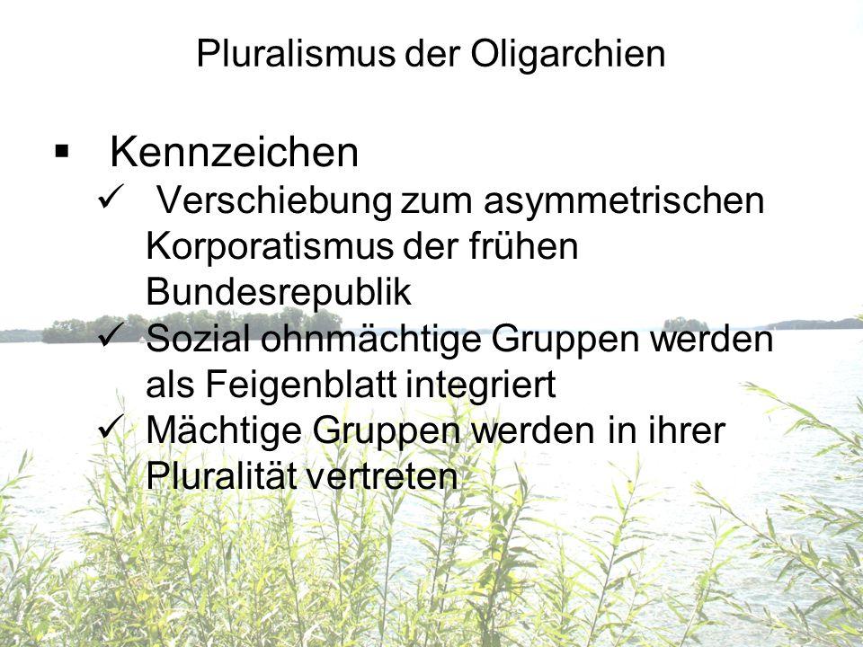 Pluralismus der Oligarchien Kennzeichen Verschiebung zum asymmetrischen Korporatismus der frühen Bundesrepublik Sozial ohnmächtige Gruppen werden als